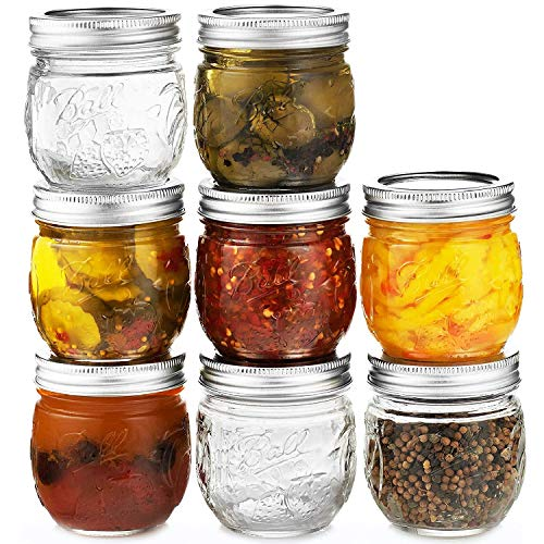 Ball Regular Mouth Mason Jars 8 oz, Set of 8 Canning Jars, with Airtight lids & Bands - Safe For Canning, Fermenting, Pickling, Storage - Beverages & Decor. Toxin Free. + SEWANTA Jar Opener (Canning Jars Bell)