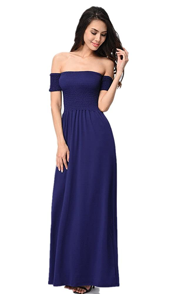 bluee LHAYY Women's Casual Off The Shoulder Short Sleeve Maxi Dress