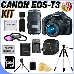 Canon EOS Rebel T3 12.2 MP CMOS Digital SLR with 18-55mm IS II Lens (Black)& Canon EF 75-300mm f/4-5.6 III Telephoto Zoom Lens 32GB Package