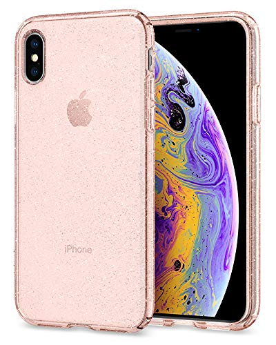 Spigen Liquid Crystal Designed for Apple iPhone Xs Case (2018) / Designed for Apple iPhone X Case (2017) - Glitter Rose Quartz