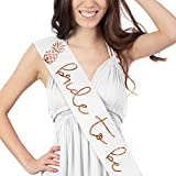 Bride To Be Pineapple Metallic Rose Gold Satin Sash - Bachelorette Party Decorations White Sash (B2B Pinapl RsGld) Wht