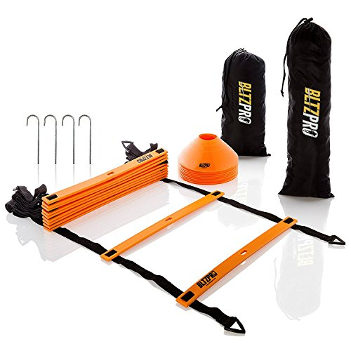 AGILITY LADDER with CONES A Fitness Gear to Improve Soccer,Football & Sports Skills Used by Athletes & Coaches.15ft|Adjustable Rungs|10 Cones|2 Carry Bags|4 pegs|footwork drills ebook BltzPro