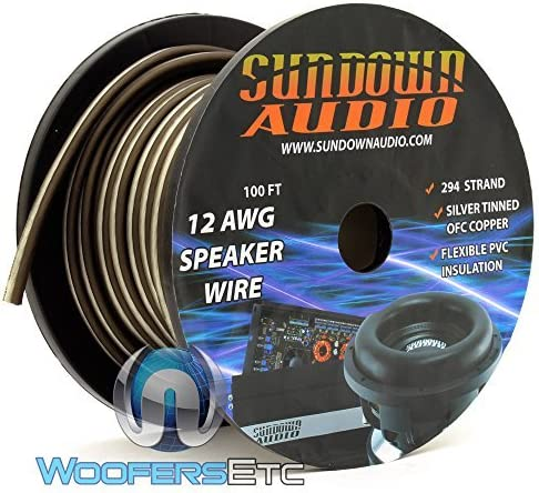 Sundown Audio 100 Ft 12 AWG Speaker Cable 294 Strands Black//White
