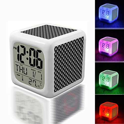 Digital Alarm Thermometer Night Glowing Cube 7 Colors Clock LED Customize the pattern 240.Paw Prints Background Wallpaper(4) ()