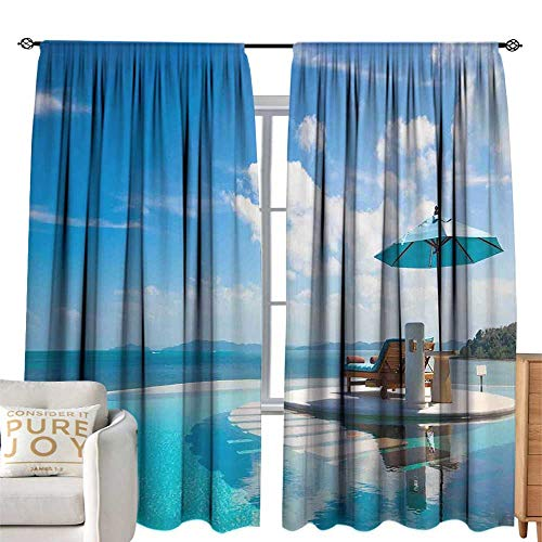 (cobeDecor Extra Wide Curtains Seaside Beach Chair with Umbrella on Private Pool Ocean View Vacation Picture Blue Aqua and White Simple Style W120)