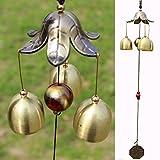 iHappy Wind Chimes Bronze Flower Petal 3 Bells Outdoor For Sale