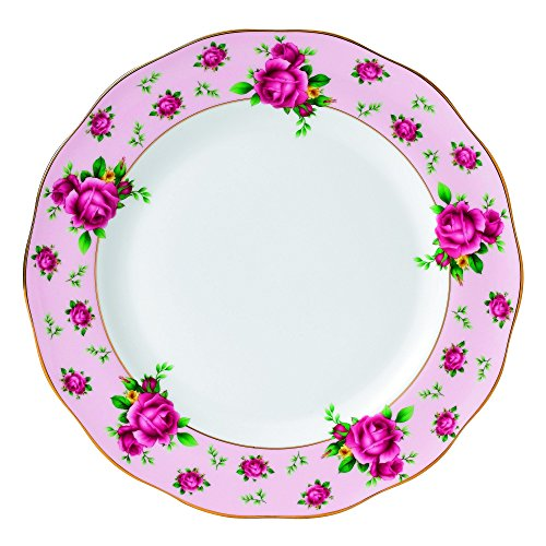 Royal Albert New Country Roses Vintage Formal Dinner Plate, White/Pink by Royal Albert