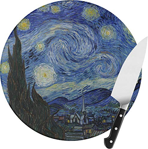 The Starry Night (Van Gogh 1889) Round Glass Cutting Board - Medium