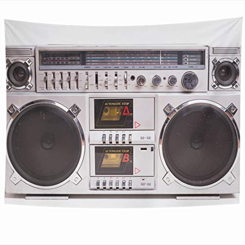 DIYCow Tapestry Wall Decor 80 x 60 Inches Front View Vintage Boom Box Cassette Tape Player White Boombox Old Tapestries Wall Hanging Home Decor for Home Office Bedroom