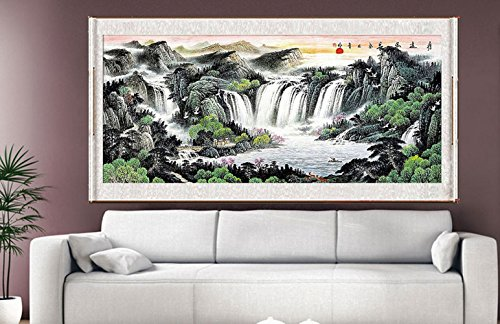 Waterfall Painting, Feng Shui Fountain Water Asian Wall Art Prints Decor Large Scroll Chinese