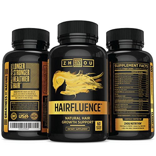 HAIRFLUENCE All Natural Hair Growth Formula For Longer Stronger Healthier Hair Scientifically Formulated With Biotin Keratin Bamboo More For All Hair Types Veggie Capsules