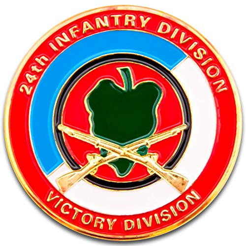 - Art Crafter 24th Infantry Division with Taro Leaf Insignia Challenge Coin A013J-Taro Division Victory Division Army Coins