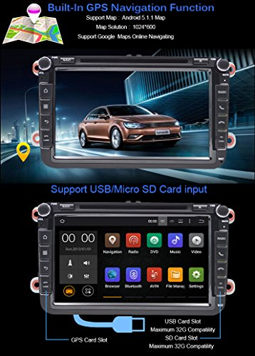 Android 5 1 Car DVD Player GPS 2 din in-dash for VW Skoda