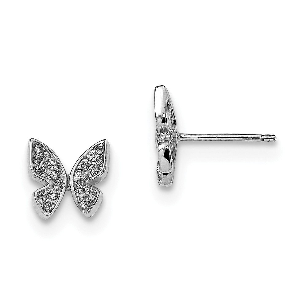 Sterling Silver with CZ Cubic Zirconia Butterfly Post Earrings 9.5mm x 8.9mm