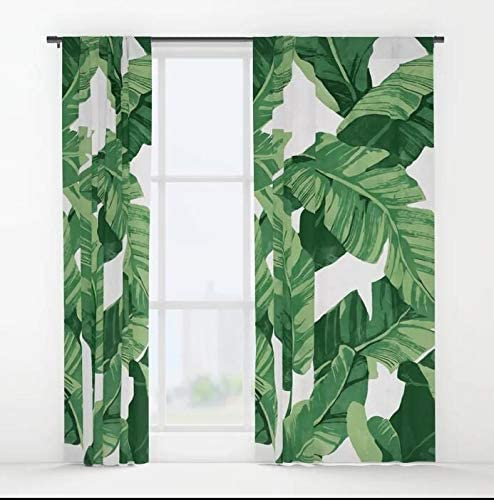 XicoLtd Tropical Banana Leaves IV Window Curtains Window Drapes Blackout Curtains Panels for Bedroom,Home,Set of 2,84×55 inch
