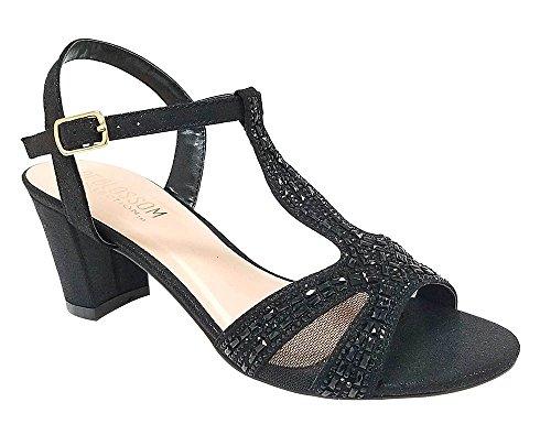 Donne Lennie Strass Abbellito Chics Vamp Tacco Grosso Vestito Sandalo Nero 5.5