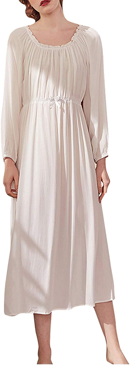 Victorian Nightgowns, Nightdress, Pajamas, Robes Womens Nightgown Long Sleeve Vintage Lace V-Neck Pajama Nightwear Cotton Sleepwear Lounge Dress $29.99 AT vintagedancer.com