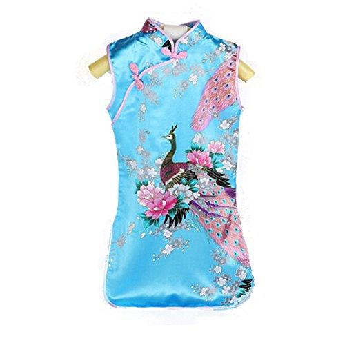 SQingYu Clearance- Children's Cheongsam, Fashion Chinese Retro Kid Suits Girl's Peacock Cheongsam Dress (Blue-6) -