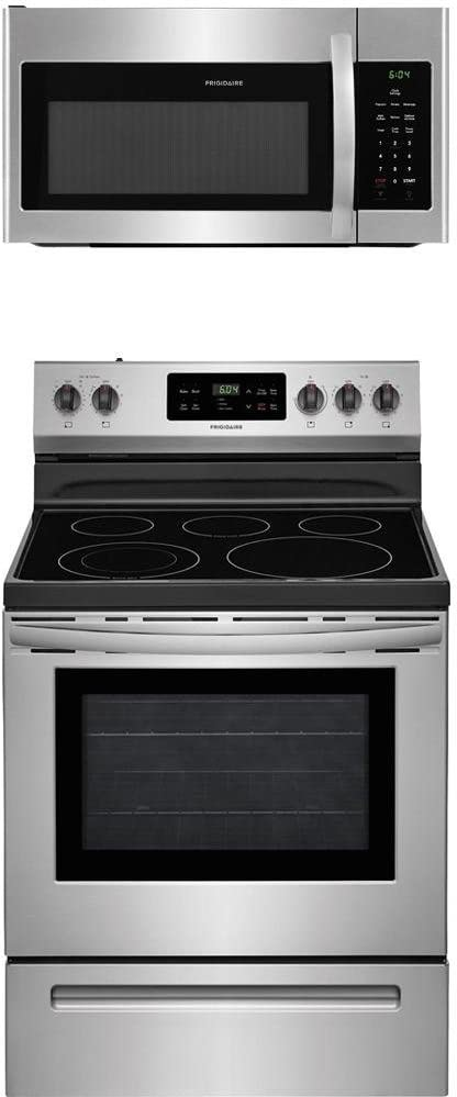 Frigidaire 2-Piece Stainless Steel Kitchen Package with FFEF3054TS 30 Freestanding Electric Range and FFMV1645TS 30 Over-the-Range Microwave