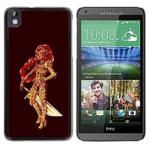 Qstar Arte & diseño plástico duro Fundas Cover Cubre Hard Case Cover para HTC DESIRE 816 ( Warrior Princess Golden Red Hair Sword Bling)