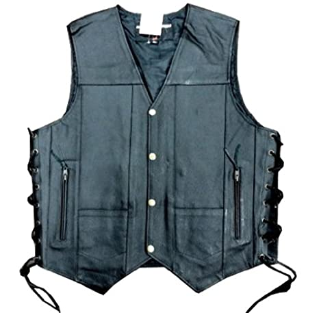 Men's Leather 10 Pockets Motorcycle Biker Vest New All Sizes (4XL (CHEST 56 INCHES)) LLL