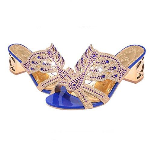Hunpta Sandalen Damen, Frauen Ausschnitt Gladiator Knöchelriemen Plattform High Block Heel Stiletto Sandaletten Blau