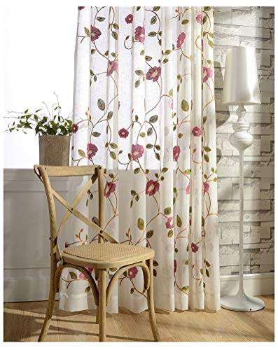TIYANA Window Treatment Rustic Custom Embroidered Sheer Curtains 84 inch Long for Sliding Glass Door Romantic Flowers Embroidery Sheer Panel for Living Door Rod Pocket Top, 54x84 inch, 1 Piece