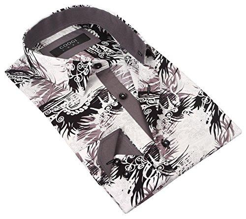 Coogi Luxe Men's White / Grey / Black Tailored Fit Pattern Print Classic Dress Shirt (Medium)