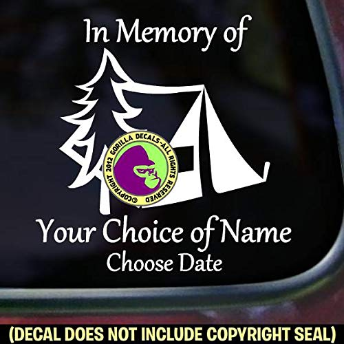 MEMORIAL Tent Camper Camping ADD CUSTOM WORDS Vinyl Decal Sticker B