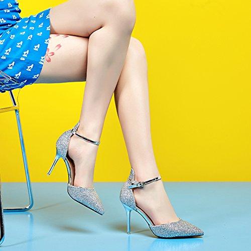 Hoxekle Donne Sexy Tacchi Alti Pompe A Spillo Primavera Moda Nuovo Elemento Scarpe Opaco Design Argento