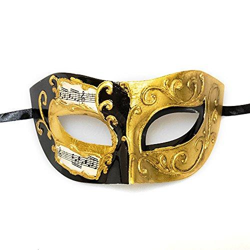 (BeyondMasquerade Mens Masquerade Mask Venetian Ball Mask (Black/Gold))