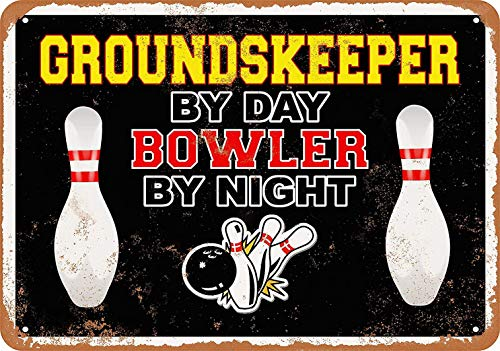 Groundskeeper Mat - Sylty 12 x 16 Metal Sign - Groundskeeper by Day, Bowler by Night Coffee House or Home