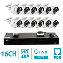 GW 16 Channel H.265 NVR 4-Megapixel (2592 x 1520) Security Camera System, 12pcs 4MP 1520p 3.6mm Wide Angle POE Weatherproof Bullet IP Cameras, 80ft Night Vision