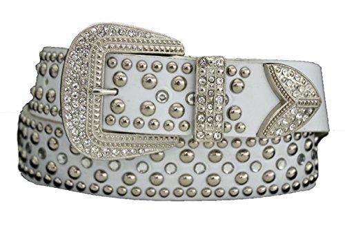 shion Belt Big Metal Buckle Silver Studs Beads Rhinestones S M L White (M/l 33