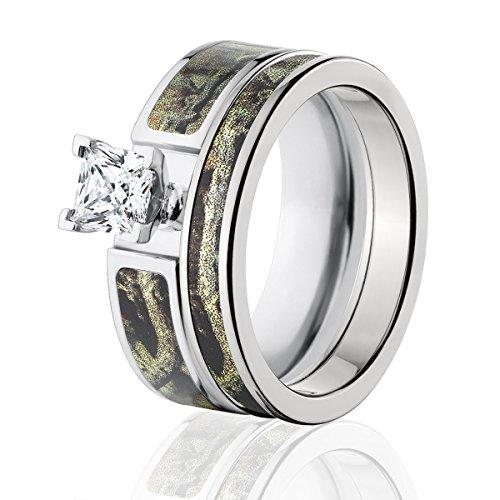 Mossy Oak Camo Bridal Set, Camo Wedding Rings, Break-Up Infinity Camo Rings