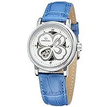 GuTe Fashion Four Leaf Clover Ladies Auto Mechanical Watch Luminous Hands Blue Strap