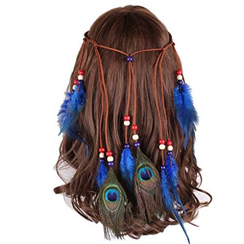 Peacock Feather Leaf Tassels Hemp Rope Braided Hippie Headband for Women Girls Weave Headpieces Bohemia Tribal