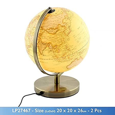 20 cm vintage style world map globe with light ornament on a metal 20 cm vintage style world map globe with light ornament on a metal base gumiabroncs Gallery