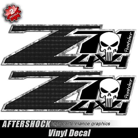 Punisher skull silverado truck decal black carbon sticker