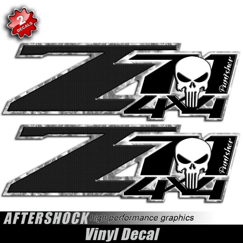 Amazon com punisher skull silverado truck decal black carbon sticker sports outdoors