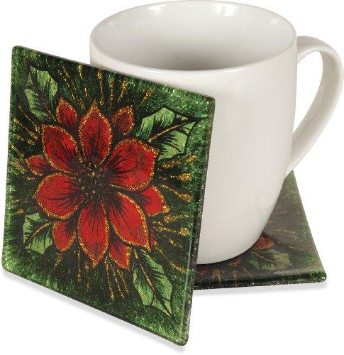 AngelStar 19124 Poinsettia Decorative Glass Coaster, 4-Inch, Set of 4