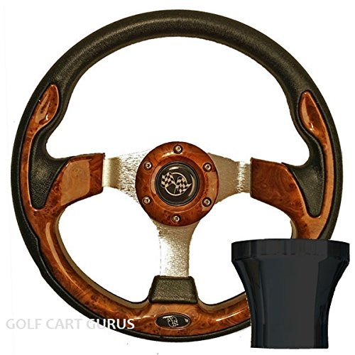 ULTIMATE GOLF CART WOODGRAIN STEERING WHEEL W/ ADAPTER FOR EZGO TXT (BLACK)