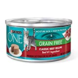 Purina ONE Grain Free Classic Beef Recipe Premium Pate Wet Cat Food - (24) 3 oz. Cans