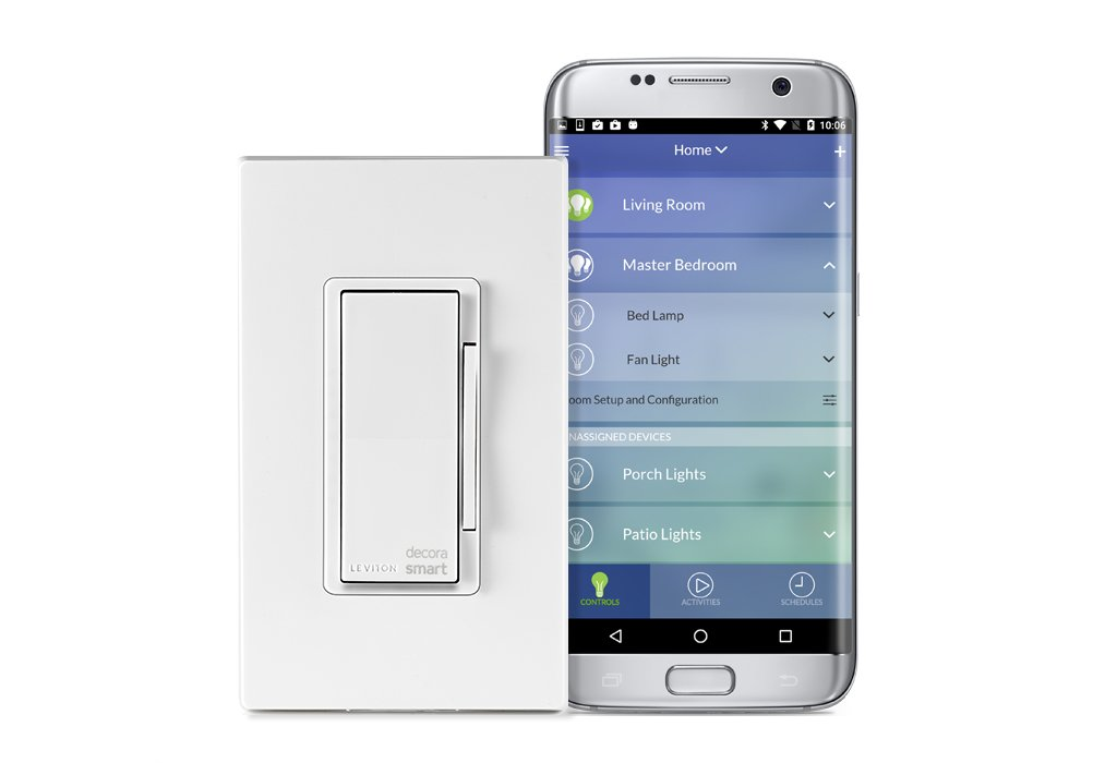 Leviton DW1KD-1BZ Decora Smart Wi-Fi 1000W Incandescent/450W LED Dimmer, No Hub Required, Works with Alexa, Google Assistant and Nest