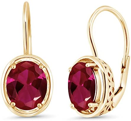 Gem Stone King 4.00 Ct Oval Red Created Ruby 18K Yellow Gold Plated Silver Dangle Earrings