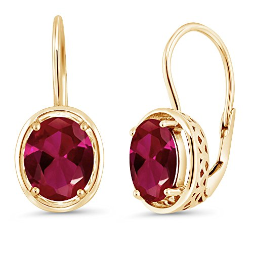 Gem Stone King 4.00 Ct Oval Red Created Ruby 18K Yellow Gold Plated Silver Dangle -
