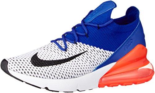 (Nike Men's Air Max 270 Flyknit, White/Black-Racer Blue, 12 M US)