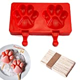 ice cream popsicle sticks - Silicone ICE POP Mold,DiDaDi 2 Cavities Cute ICE CAREM Bar Mould,Popsicle Molds DIY ICE CREAM Maker,Silicone Jelly Chocolate Candy Soap Molds with 20 Wooden Sticks - Paw