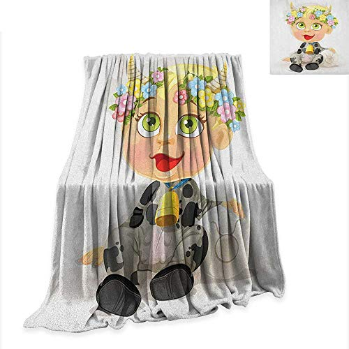 Zodiac Taurus Lightweight Blanket Happy Baby with Little Horns and Flowers Cow Bell and Costume Kids Cartoon 90