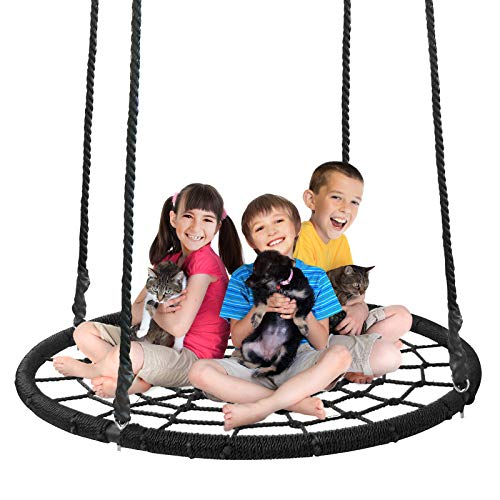 Super Deal XXL 48' Web Tree Swing Set - Largest Platform - 360°Rotate° - 71'' Adjustable Detachable Nylon Rope - Attaches to Trees or Swing Sets - for Multiple Kids or Adult (48'')